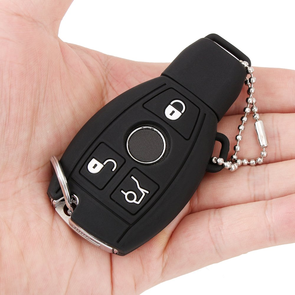 CLK Case Fits Many Models Cl Black JessicaAlba Silicone Smart Key FOB Cover for Mercedes-benz C