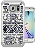 S7 Edge Case, MagicSky [Shock Absorption] Studded Rhinestone Bling Hybrid Dual Layer Armor Defender Protective Case Cover for Samsung Galaxy S7 Edge (Elephant)