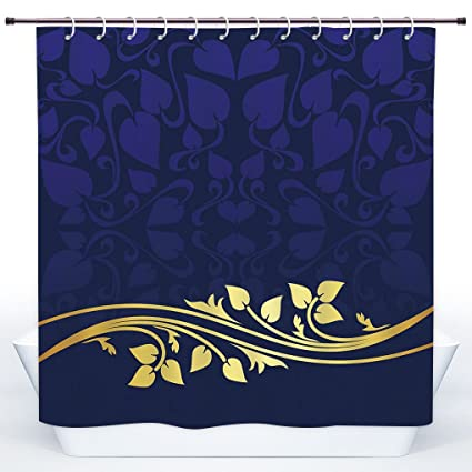 SCOCICI Funky Shower CurtainNavy Blue DecorRomantic Royal Leaf Pattern With Golden Floral