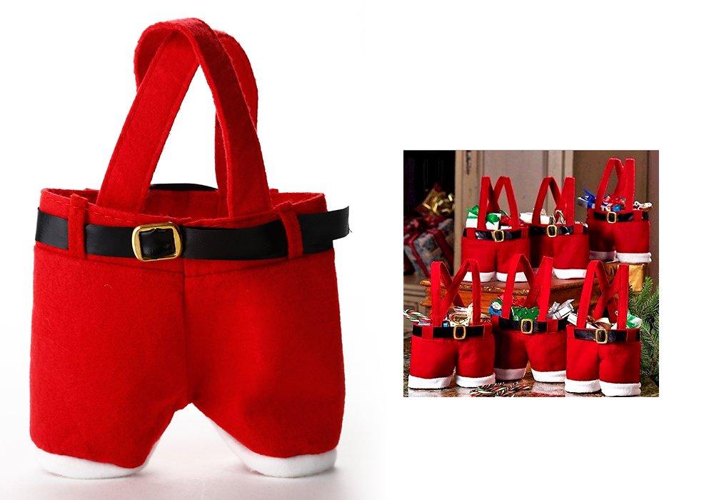 ZOGIN Lot de 6 pcs Sac Bonbon Noël Sac de Cadeau en Pantalon Père Noël Costume Santa Claus pour Enfants Sac Candy Chocolat pour Décoration de Fête Noël