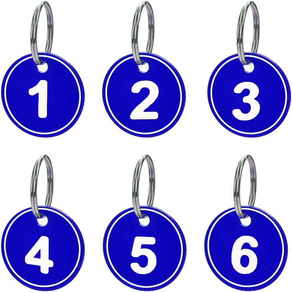 Aspire Schl/üsselanh/änger ID Tag Nummeriert ABS mit Ring 50Packungen Silber 51bis100