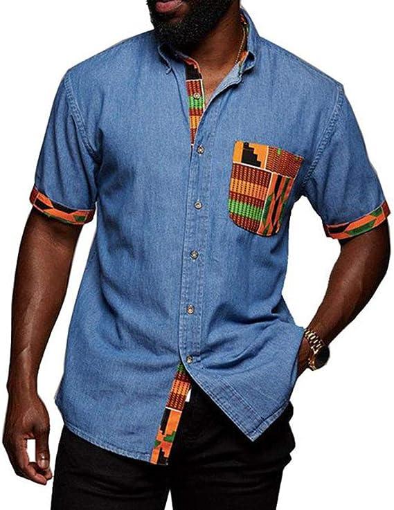 Camisa de Manga Corta a Juego con Costuras de Estilo Africano ...