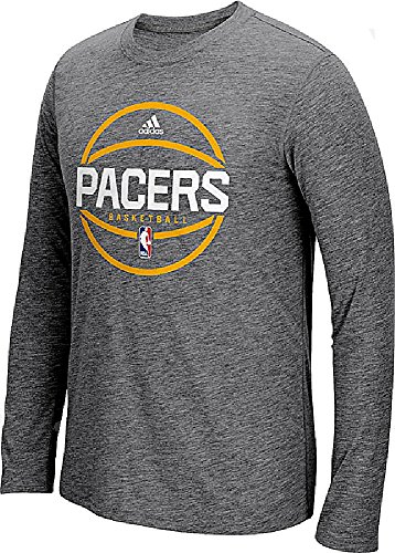 Indiana Pacers Adidas Slimmer Fit On-Court Dark Grey Pre-Game Ultimate Synthetic Long Sleeve T Shirt (L=40/42)