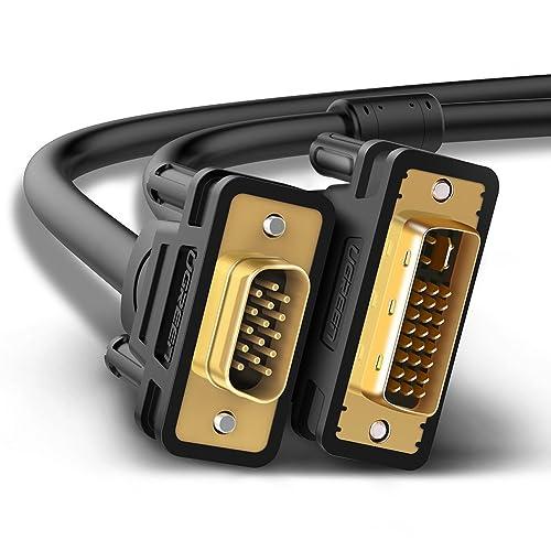 UGREEN Câble DVI VGA, Câble DVI I 24+5 vers VGA 15 Broches Mâle à Mâle Support 1080P, Plaqué Or (1.5m)