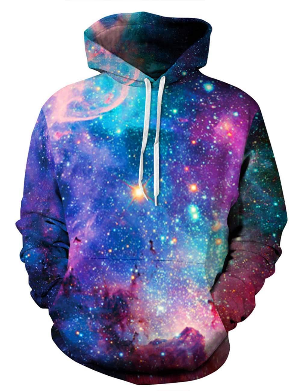 ALISISTER Unisex 3D Galaxy Pullover Hoodie Bunt Bedruckte Kapuze Sweatshirt Langarm Kordelzug Pullover M