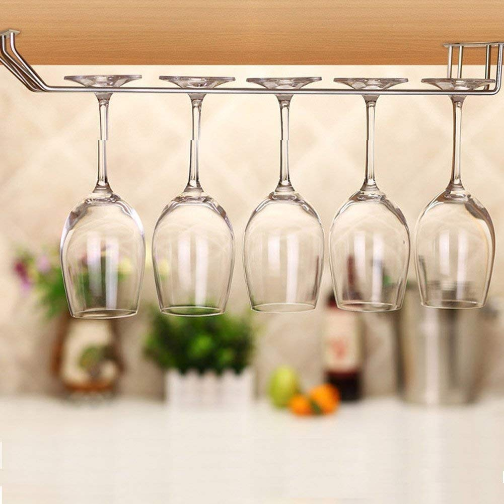 Velidy Velidy Wine Glass Rack,Stainless Steel Chrome Finish Under Cabinet Hanging Stemware Holder with Screw For Kitchen/Bar / Restaurant (10.6'/27cm) by Velidy (Image #3)