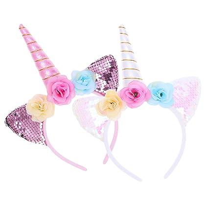 2 piezas lindo dulce cuerno de unicornio banda para el ...