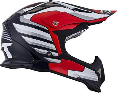 Amazon.es: KYT ysea0014.4 Casco Moto, Color blanco/rojo, M