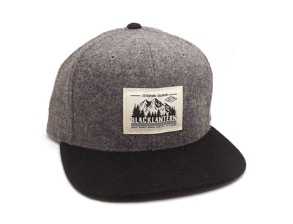 Wool Hat with Woven Label Patch - Mountains and Trees - Men's/Unisex Snapback Trucker Hat