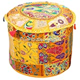 Stylo Culture Bohemian Round Pouf Ottoman Cover Indian Patchwork Embroidered Pouffe Ottoman Cover Yellow Cotton Floral Traditional Furniture Footstool Seat Puff Cover (16x16x13)