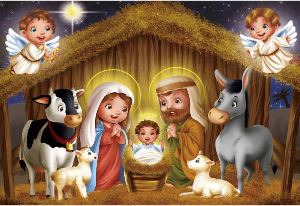 YEELE 10x8ft Traditional Christmas Backdrop Nativity Scenes Jesus Baby on The Manger Photography Background Xmas Party Decor Church Pictures Photobooth Props Digital Wallpaper