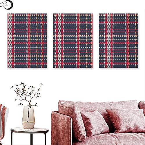 (J Chief Sky Plaid Landscape Canvas Classical Pattern with Traditional Origins Irish Country Retro Style Simple Checkered Triptych Wall Art Multicolor W 16
