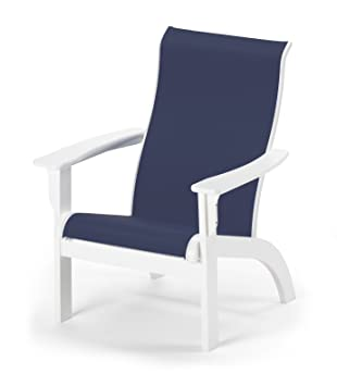 telescope casual adirondack mgp sling chair textured snow finish with navy sling fabric
