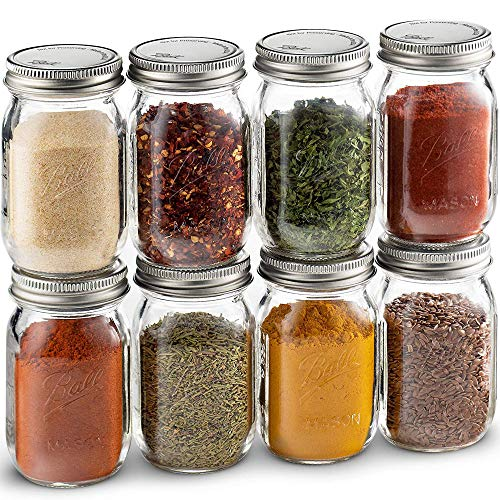 Ball Spice Jars; Mini Mason Jars 4 oz. Set of 8 Small Glass Storage Jars With Lids - For Herbs & Spices, Jelly, Honey Jars, (Not Canning) Favors, DIY & Crafts - Bundled With SEWANTA 28 Spice Labels (For Mason Jars Spices)