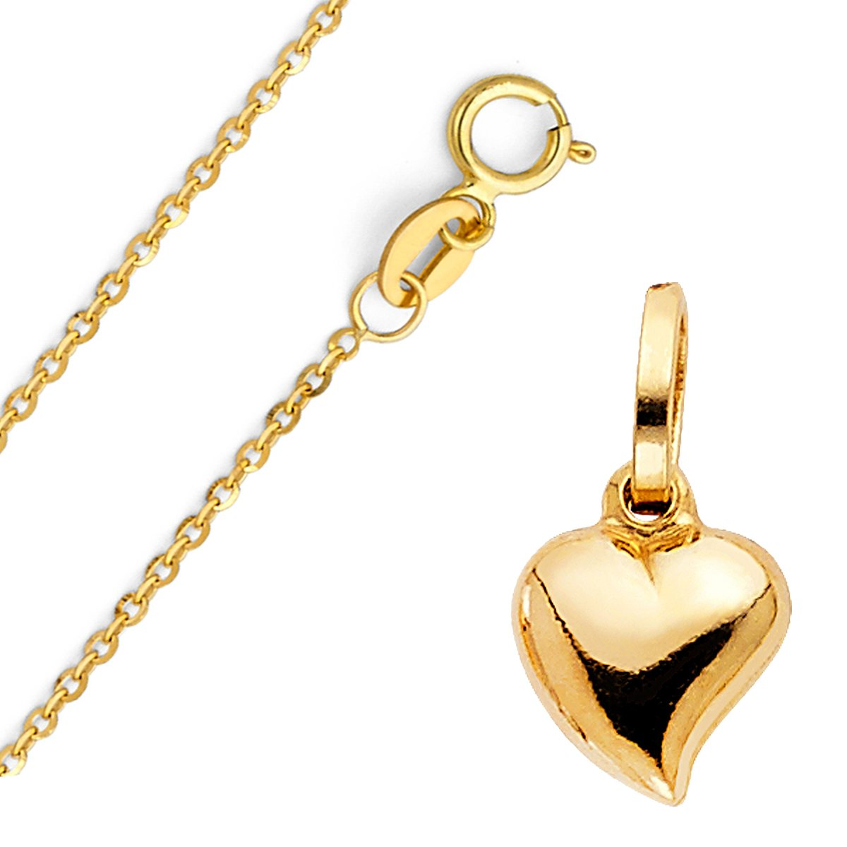 14k Yellow Gold Heart Locket Pendant - Comes with Rolo Cable Chain - High Polish Finished Fine Jewelry - Suitable for Men & Women for All Special Occasion, 22 inches, 11 x 10 mm