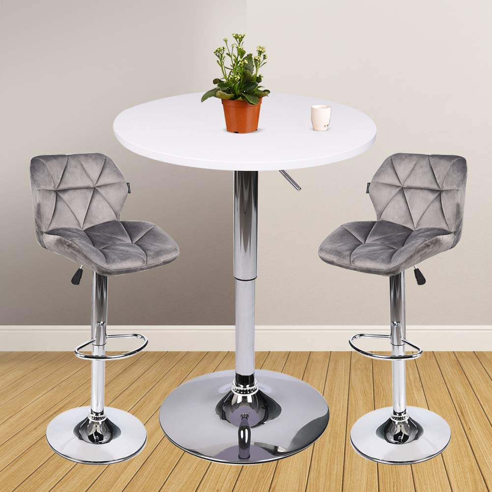 3 Pieces Bar Table Set 24 inch Round Height Adjustable Steel Dining Bistro Kitchen Table with 2 Pieces Velvet Bar Stools (Grey Barstool + White Pub Table)