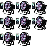 DJ Light Missyee 36 X 1W RGB LEDs Stage Lights Sound Activated Uplights Compatible with DMX Remote Control 9 Modes for Wedding Party Nightclub Late-Night Bars Mobile DJs Event Festival (8 Packs)