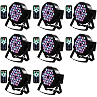 Missyee Up Lighting 36 Leds RGB Stage Lights Sound Activated DMX 512 Controller Dj Par Can Lights with remote control for Birthday Party Wedding Bar Club Home Christmas Halloween Festival (8 packs)