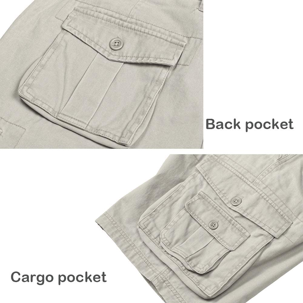 Relaxed Fit Multi Pocket Outdoor Cotton Cargo Shorts QBSM Men/'s Cargo Shorts