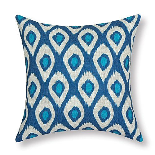 CaliTime Cushion Cover Throw Pillow Case Shell Ikat Peacock Feathers Figures Geometric Accent 18 X 18 Inches Sea Blue - Ikat Throw Pillow