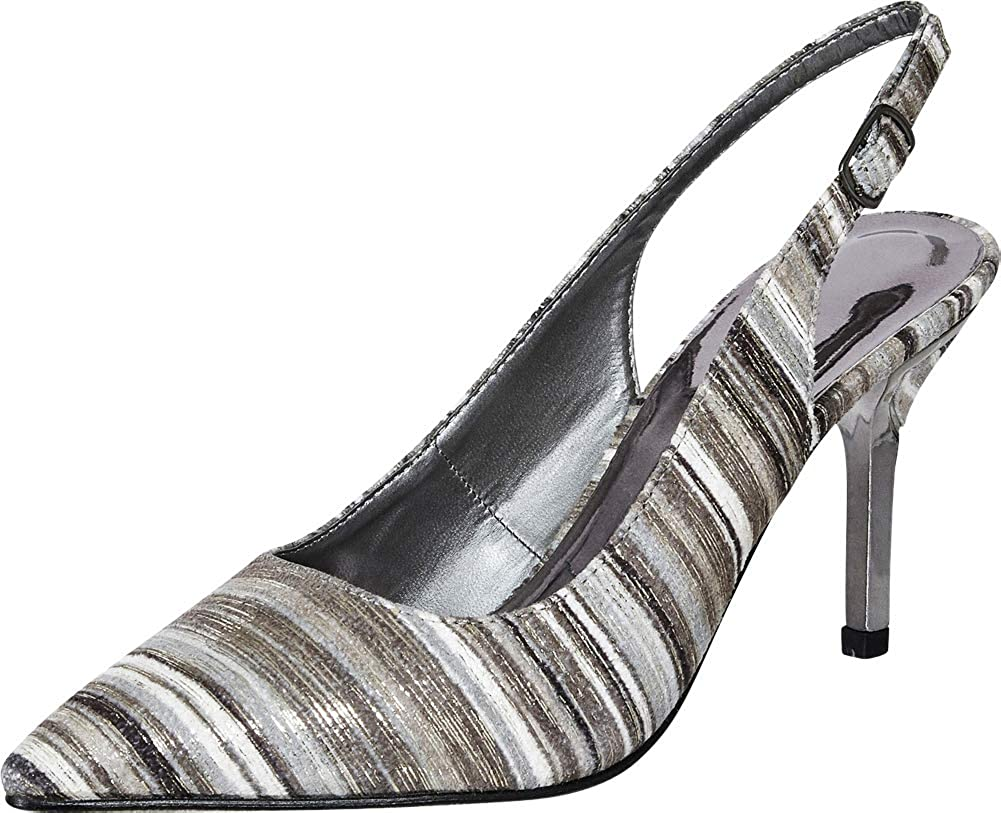 Silver Pewter Cambridge Select Women's Pointed Toe Slingback Stiletto High Heel Pump