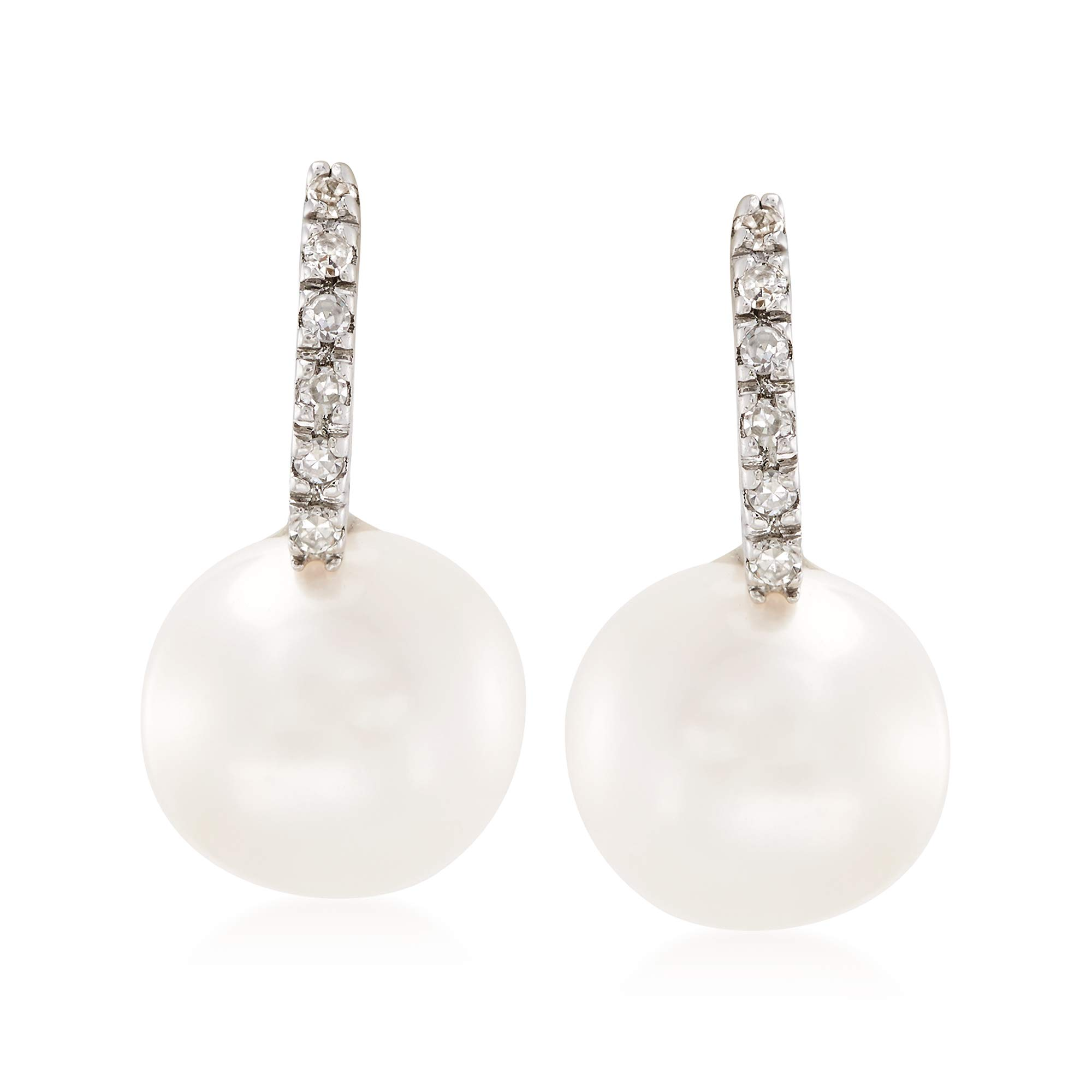 Ross-Simons 8mm Cultured Pearl Earrings With Diamond Accents in 14kt White Gold by Ross-Simons (Image #1)