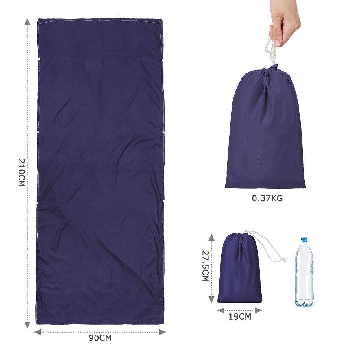 CAMTOA Funda para saco de dormir, ultraligera, portátil, ligera, ultraligera, multifunción, 90 x 210 cm, suave y transpirable para 4 estaciones, viajes, ...