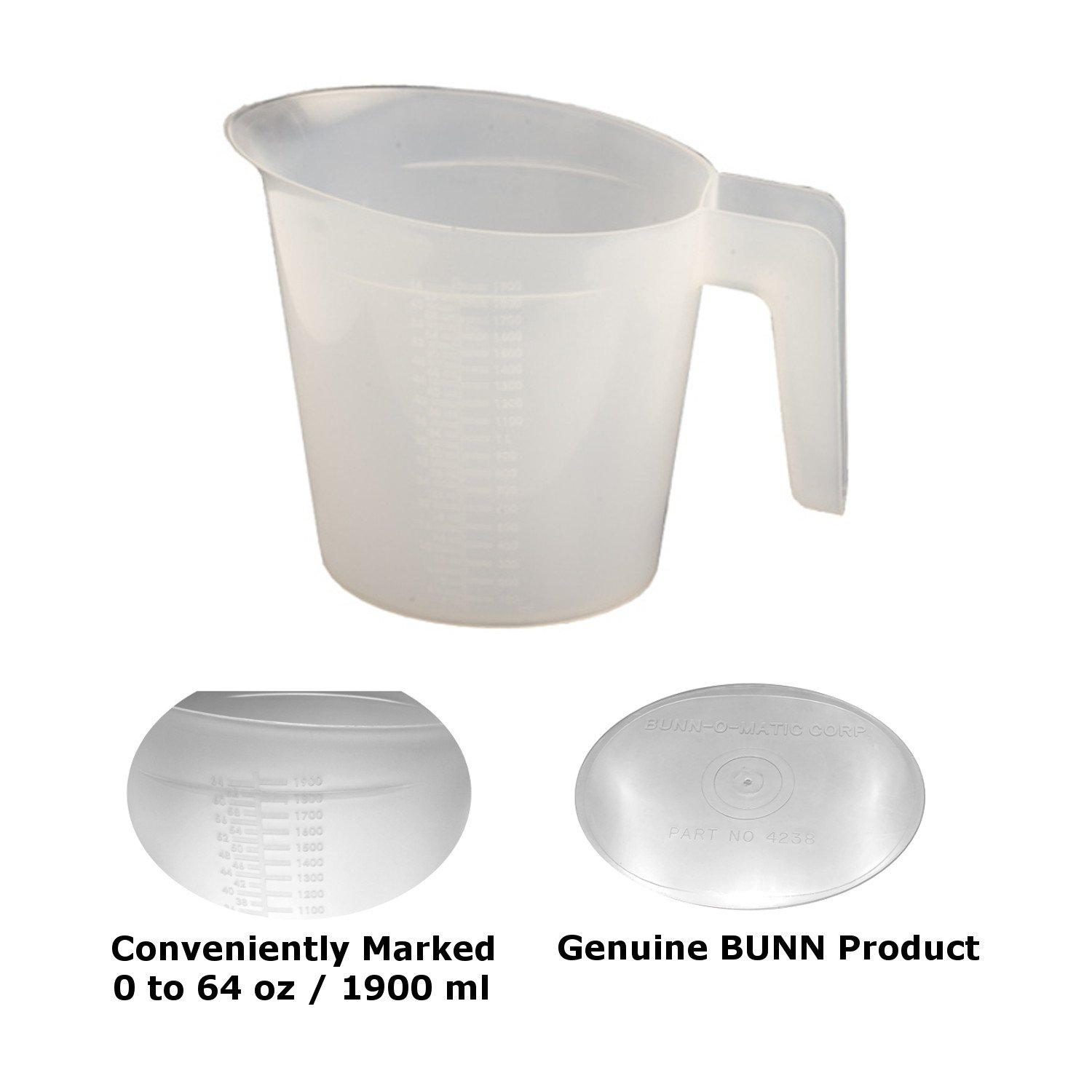 """Bunn 04238.0000-2PK Water Pitcher for Pourover Coffee Brewer, 64 oz, 13"""" Height, 11"""" Width, 6"""" Length (Pack of 2)"""
