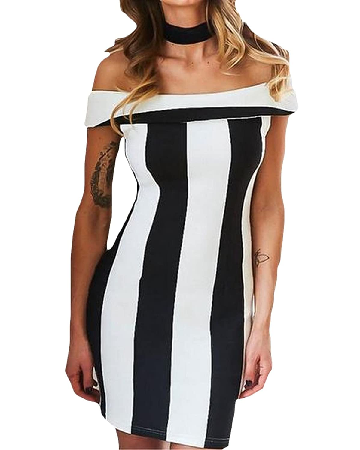 xiaokong Women Off Shoulder Stripe Bodycon Package Hip Dress Club