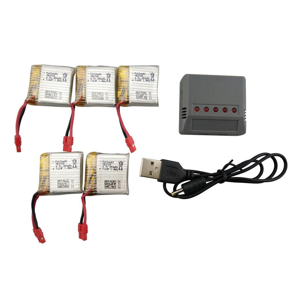Fytoo 5pcs 3.7V 380mah Litio Batería y 5 en 1 Cargador para SYMA ...
