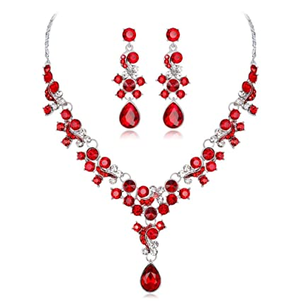 Amazoncom Crystal Necklace Earring Sets For Women Girls Cuekondy