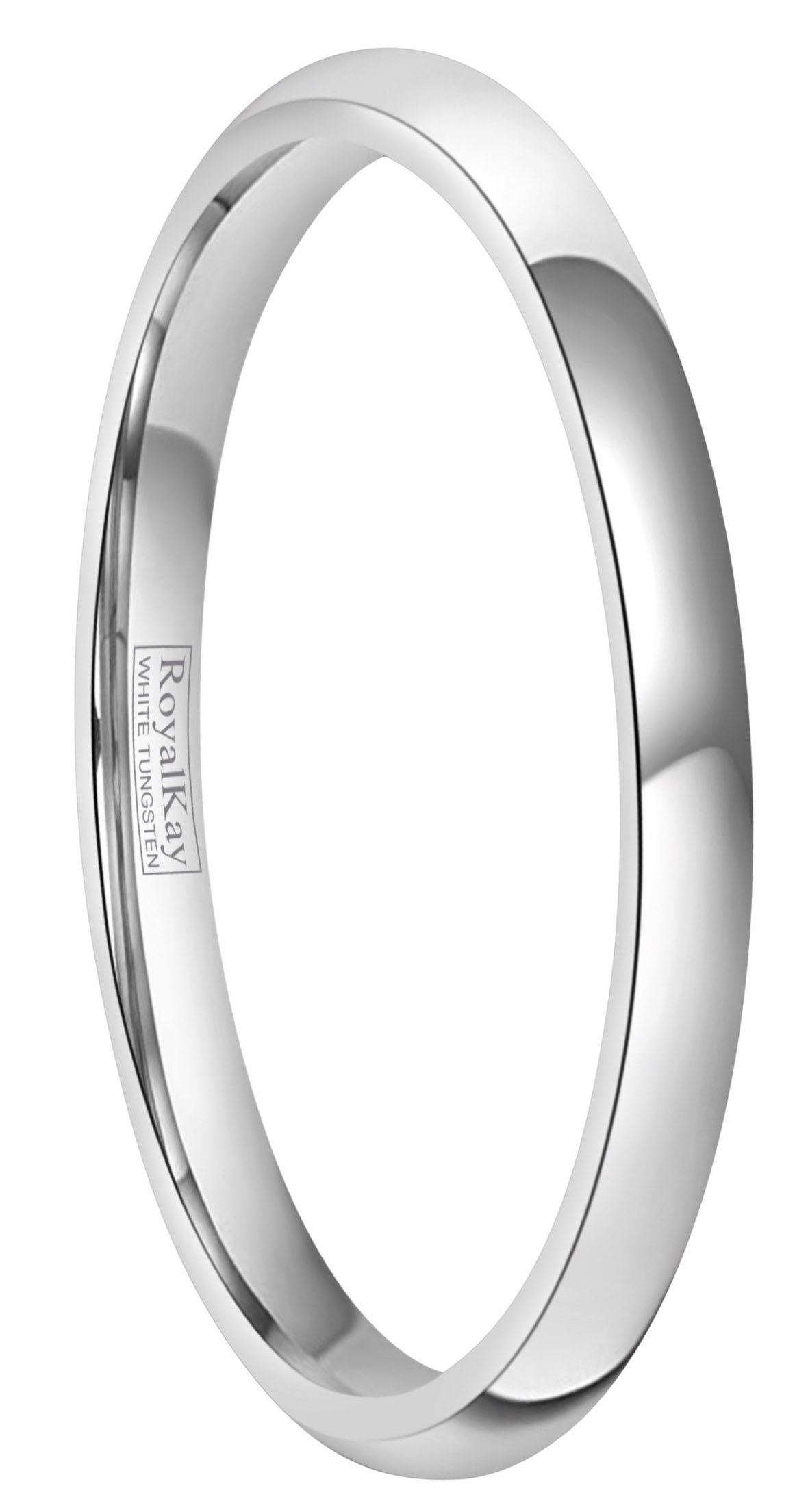 RoyalKay 2mm 4mm 6mm White Tungsten Wedding Band Ring Men Women Plain Dome High Polished Comfort Fit Size 3 To 17 (2mm,6)