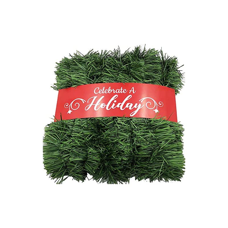 silk flower arrangements 50 foot garland for christmas decorations - non-lit soft green holiday decor for outdoor or indoor use - premium quality home garden artificial greenery, or wedding party decorations (pack of 1)