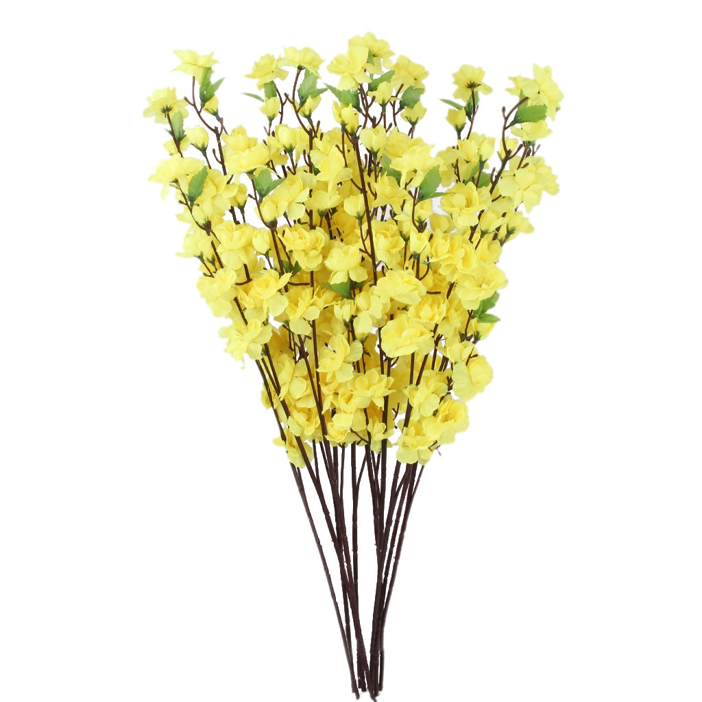 Amazon 10 bunch artificial peach blossom flower bouquet w 3 amazon 10 bunch artificial peach blossom flower bouquet w 3 fork stems for home office decor yellow home kitchen izmirmasajfo