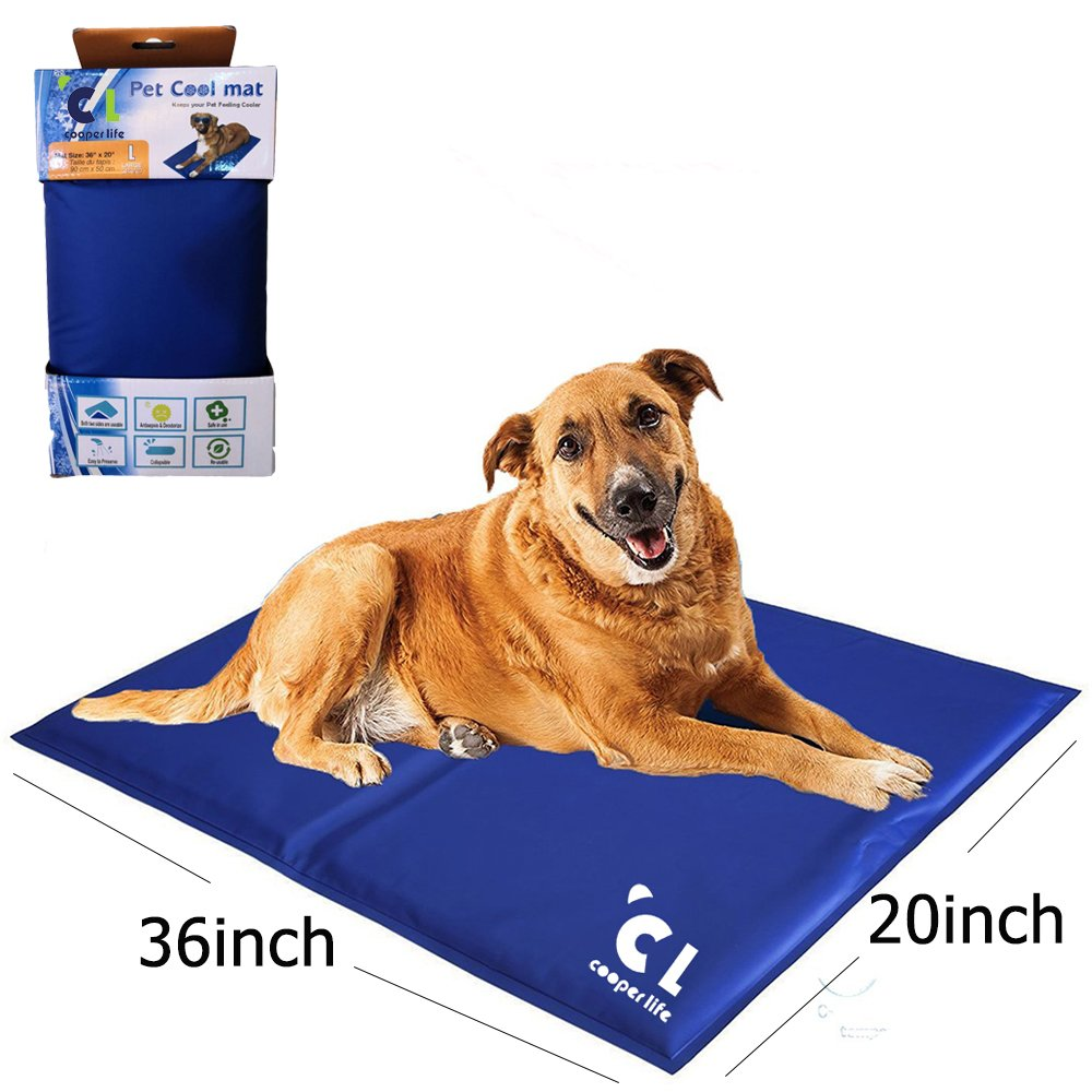 Cooper life Self Cooling Gel Pet Mat,Summer Sleep Cooling Mat/Pad with Easy to Clean,Non-Toxic——Prevent Overheating and Dehydration for Dogs,Cats&Pets. Perfect for Bed,Chair,Floor, Couch& Kennel (L)