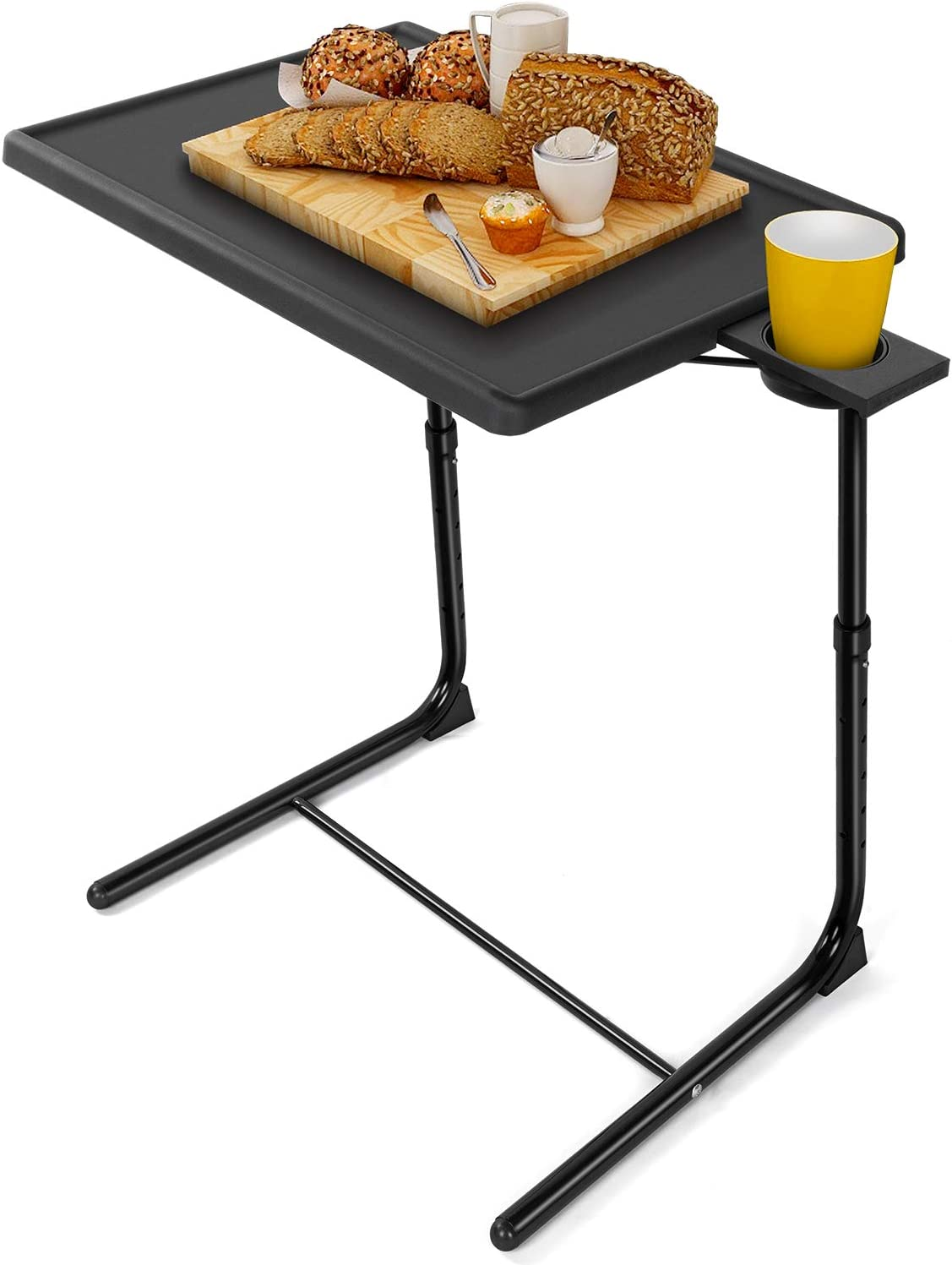 LORYERGO TV Tray Table - Adjustable TV Dinner Tray Tables with 6 Height & 3 Tilt Angle, Folding TV Trays with Cup Holder for Bed & Sofa, Multifunctional TV Table Tray for Eating & Reading