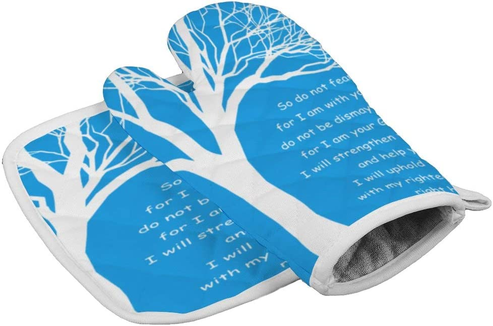 Lmlfes Christian Bible Verses Scripture Quotes -So Do Not Fear, for I Am with You Durable Oven Gloves Heat Resistant Kitchen Insulated Gloves + Insulated Square mat Insulated Gloves Combination