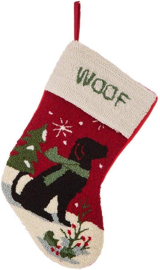 Glitzhome 19 Inch Handmade Hooked Dog Christmas Stockings