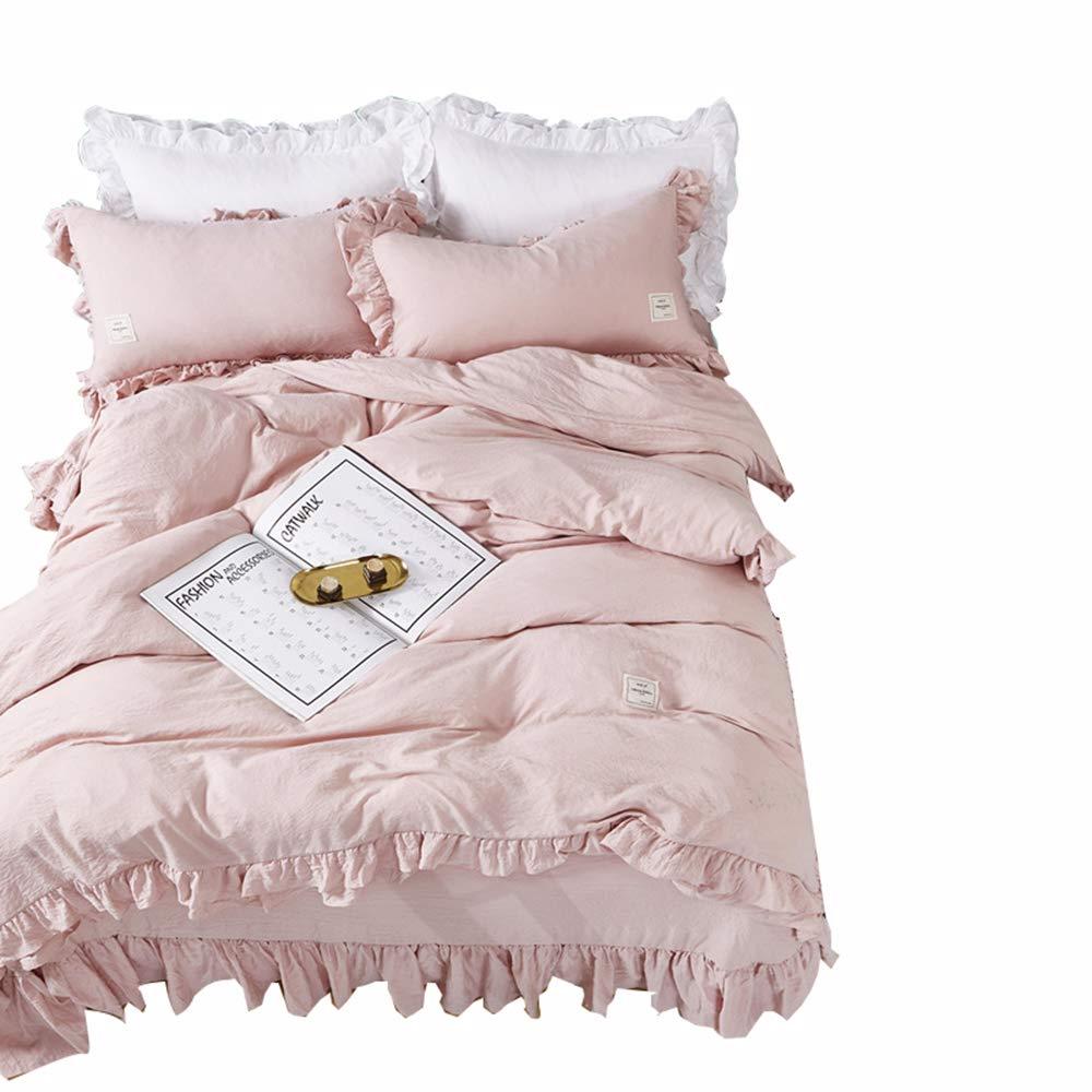 Qianqian QIAN Koreanische Art Gewaschene Baumwolle Rüschen Einfarbig Einfach Prinzessin Stil Polyester Bettwäsche Bettbezug 4-Teiliges Set,A,220  240