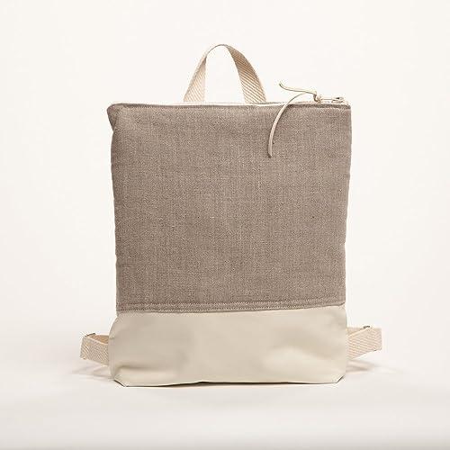 Mochila minimalista de lino hecha a mano para mujer - mochila mediana geométrica natural - BIMBA