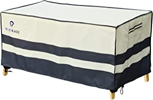 """WJ eTrade Patio Table Covers, Outdoor 600D Heavy Duty Waterproof UV Resistant Dining Table Cover, 82""""x44""""x28"""", Beige+Grey"""