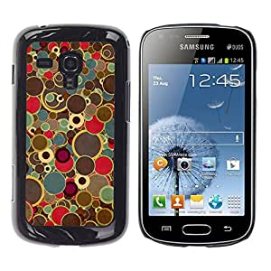 Qstar Arte & diseño plástico duro Fundas Cover Cubre Hard Case Cover para Samsung Galaxy S Duos / S7562 ( Retro Art Painting Dots Spots Colors Vintage)