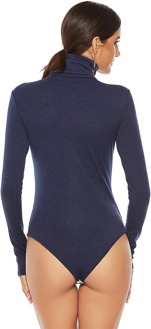 Inlefen Womens Stretch Leotards Top Turtle Neck Bodysuit Ladies Long Sleeve Sweater Jumpsuit