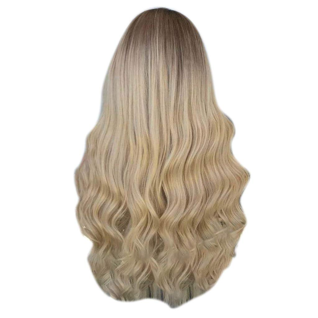 Wig,SUPPION Daily Natural Curly Lace Front Synthetic Wig Fashion Women Gradient Long Wigs - 60CM - Cosplay/Party/Costume/Carnival/Masquerade (Multicolored)