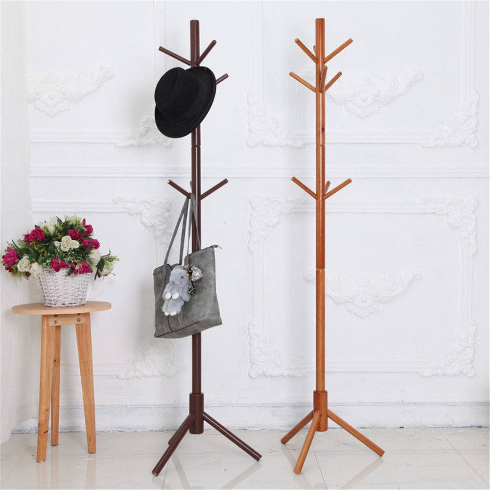 Amazon.com: Simonshop Wooden Clothes Hanger 9 Hooks Standing Coat Jacket Hat Rack Holder (Beige): Home & Kitchen
