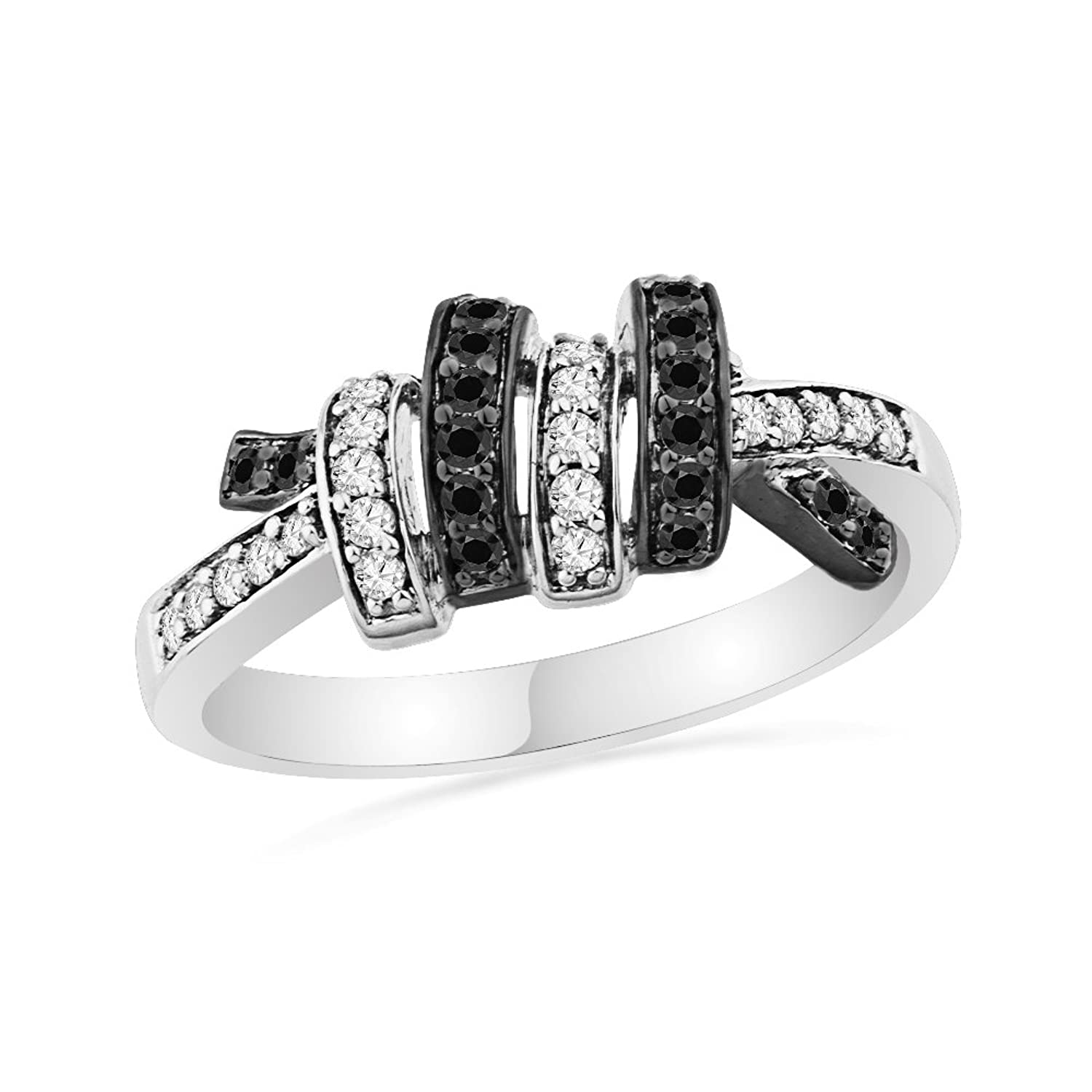 10KT White Gold Black And White Round Diamond Twisted Fashion Ring (1/5 cttw)