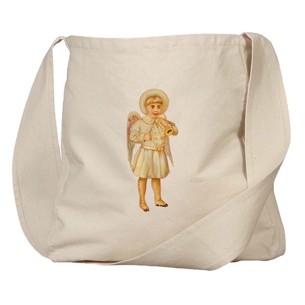 Market Bag Organic Canvas Baby Boy Angel White Coat Plays Trumpet