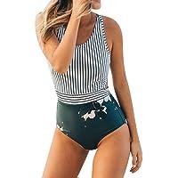 Traje de baño de una Sola Pieza para Mujer Cimaybo, Talla Grande Raya Hoja Chaleco con Cremallera Vendaje Bikini Mono Ropa de Playa
