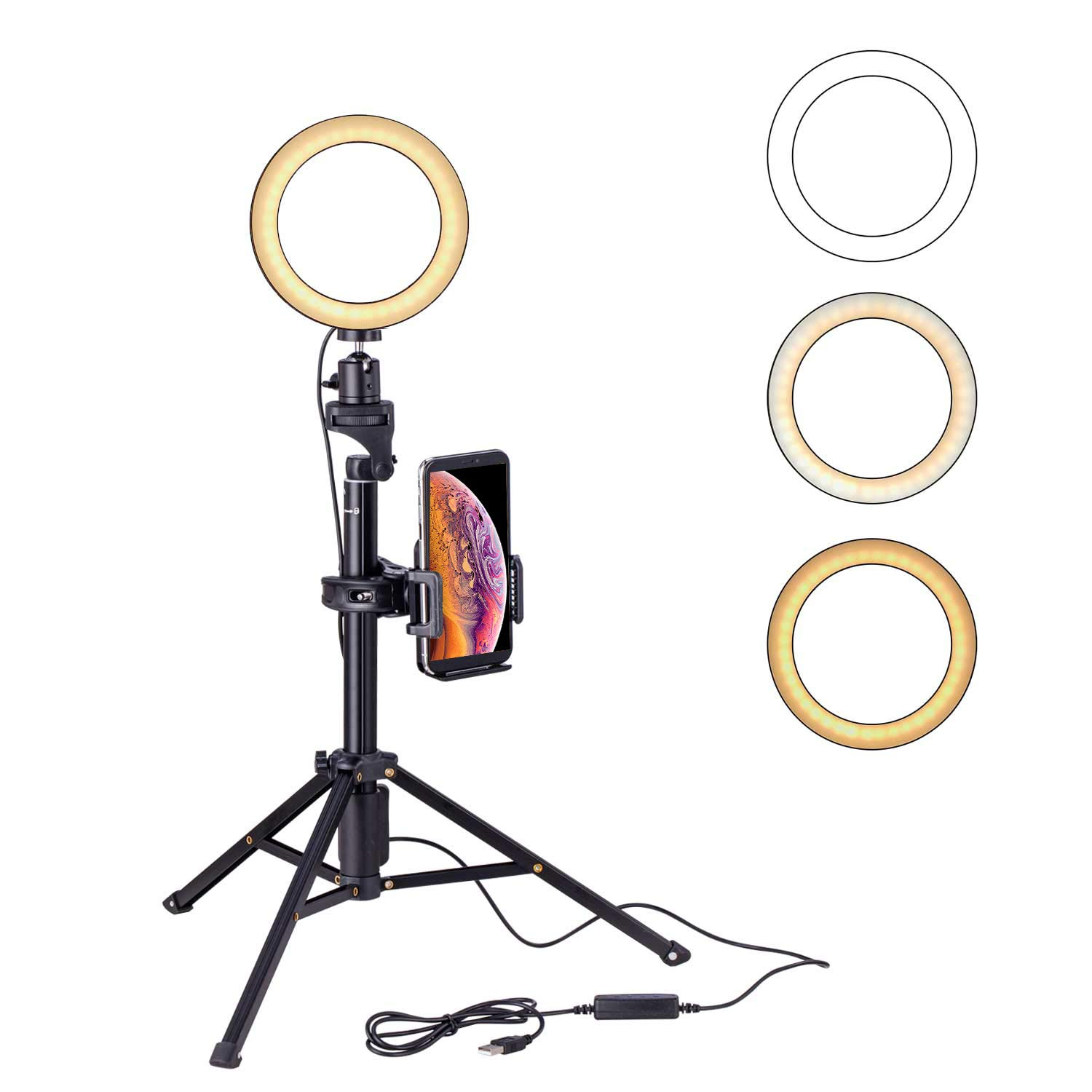 Eocean 6.3inch Selfie Ring Light with Tripod(54inch Tripod) for YouTube/Live Stream/Makeup, Mini Led Camera Ringlight for Vlog/Video/Photography Compatible with iPhone Xs/Max/XR 8/7 Plus/X/Android by Eocean