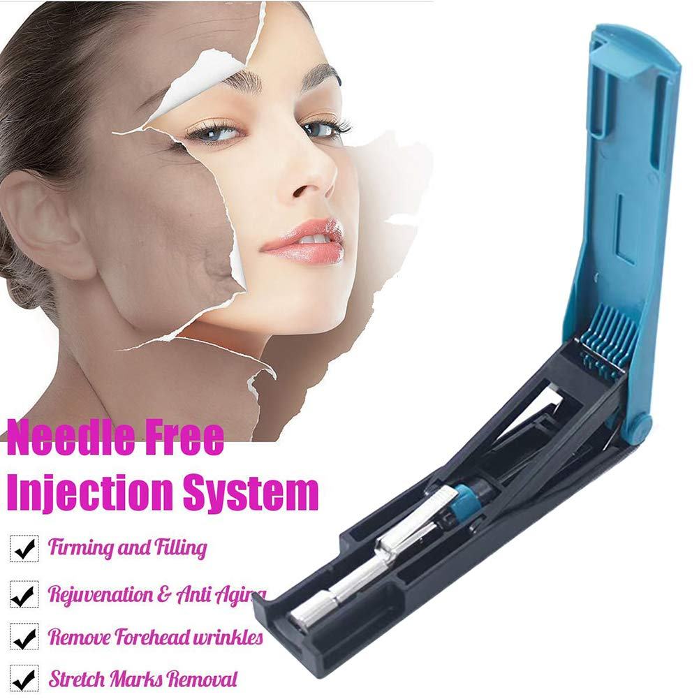 XHH Massage Atomizer Pen Hyaluronic Injection Pen Beauty Machine Skin Care with 5 Ampoule Head,Blue